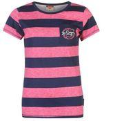 Lee Cooper Womens C Tex Stripe T Shirt Pocket Casual Short Sleeve Crew Neck Tee