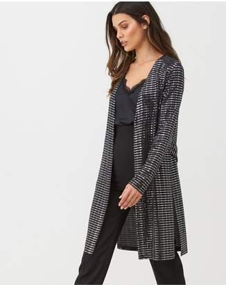 Wallis Shimmer Sequin Jacket - Black