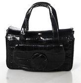 Furla Black Purple Mock Croc Leather Tote Satchel Handbag