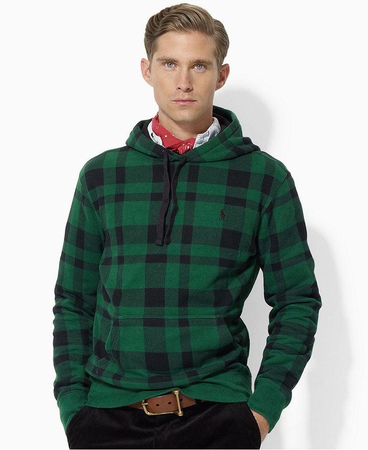 Polo Ralph Lauren Hoodie, Classic-Fit Fleece Plaid Pullover Hoodie