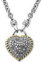 Lord & Taylor Diamond Heart Pendant in Sterling Silver with 14 Kt. Yellow Gold 0.25 ct. t.w.