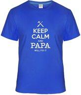 Eagle u2 Men's Keep Calm and Papa Will Fix It custom T shirt royalBlue