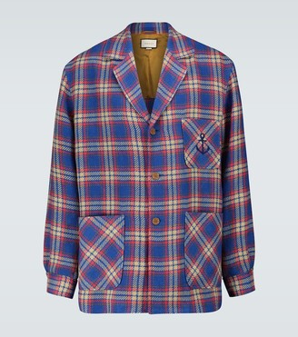 Gucci Checked cotton-linen jacket