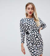 Asos Mini Dress With Elastic Waist Detail In Leopard Print