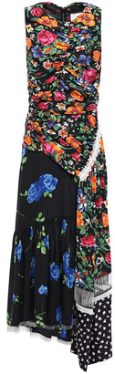 3.1 Phillip Lim Asymmetric Embellished Patchwork Floral-print Silk-twill Midi Dress