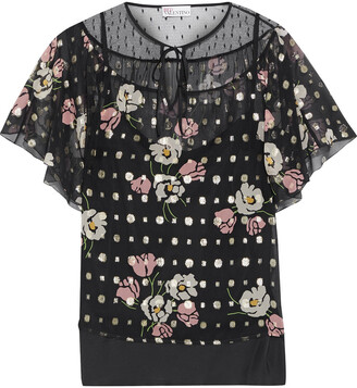 RED Valentino Point D'esprit-paneled Floral-print Fil Coupe Silk-blend Chiffon Blouse