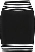 Balmain Striped stretch-knit mini skirt