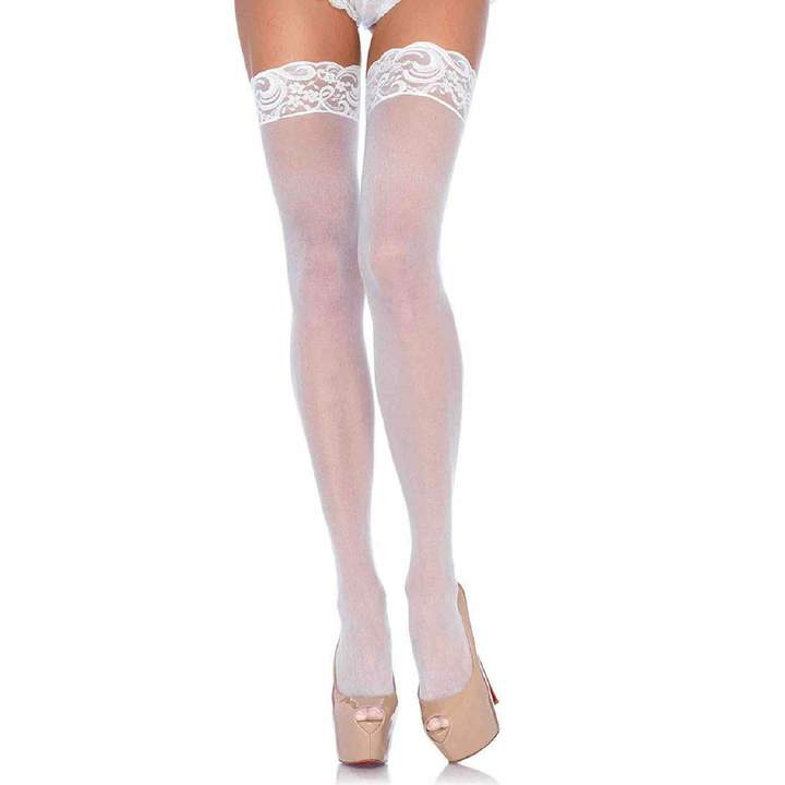 Leg Avenue Women's Size Sheer Thigh High Stockings with Lace Top