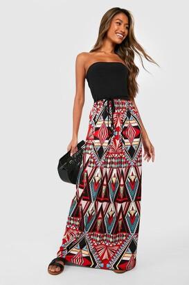 boohoo Geo Print Bandeau Maxi Dress