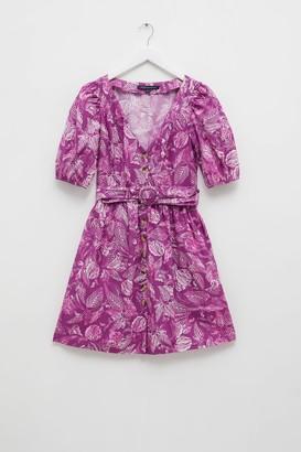 French Connenction Besima Poplin Short Sleeve V Neck Dress