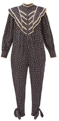 Etoile Isabel Marant Realia Floral-dot Cotton-voile Jumpsuit - Navy Multi