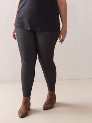 Solid Denim Leggings with Elastic Waistband - Addition Elle