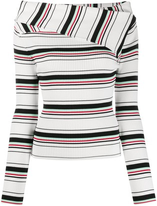 MSGM Foldover-Neck Striped Jumper
