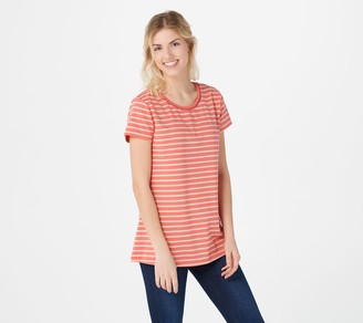 Isaac Mizrahi Live! Stripe Knit Top with Ladder Lace Neck