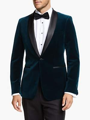 John Lewis & Partners Italian Velvet Shawl Lapel Slim Fit Dress Suit Jacket, Teal