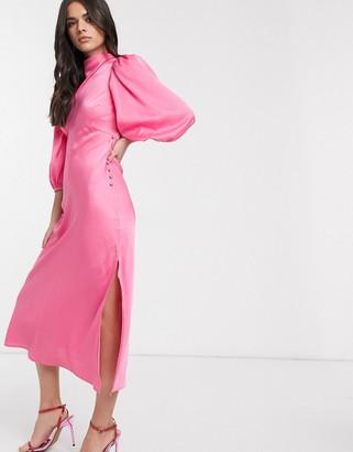 ASOS DESIGN cowl neck satin tea midi dress with puff sleeve in pink