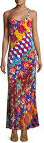 Libertine Mixed-Print Velvet Slip Dress
