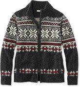 L.L. Bean Bean's Classic Ragg Wool Sweater, Zip Cardigan Fair Isle