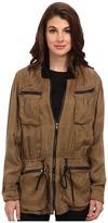 Blank NYC Faux Silk Jacket w/ Pocket and Zipper Detail