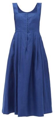 Gioia Bini Chiara Pleated Linen Midi Dress - Womens - Navy
