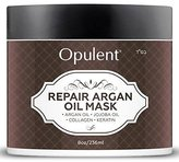 Moroccan Argan Oil Keratin Hair Treatment Mask for Dry, Damaged Hair - Hair Repair Deep Conditioner with Jojoba Oil & Collagen for Color Treated, Curly Hair - 8 Oz