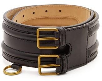 Alexander McQueen Ring-embellished Leather Belt - Womens - Black Gold