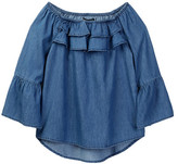My Michelle mymichelle Ruffle Neck Bell Sleeve Chambray Top (Big Girls)