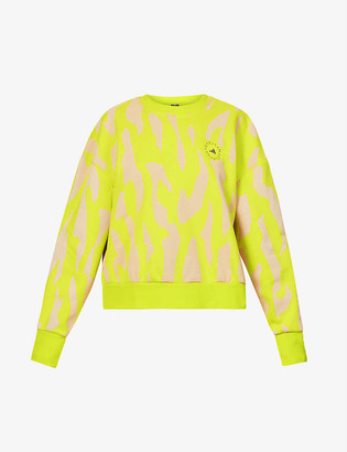 adidas by Stella McCartney Cotton and recycled polyester-blend camo print sweatshirt