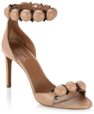 Alaia Bombe Ankle-Strap Leather Sandals