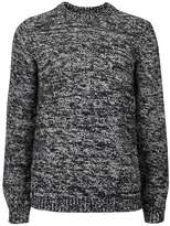 Topman Black and White Fuzzy Texture Slim Fit Sweater