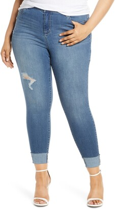 1822 Denim Distressed Roll Ankle Jeggings