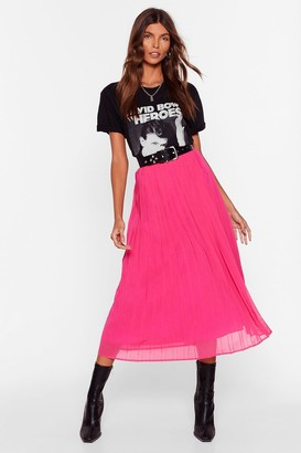 Nasty Gal Womens In the Drivers Pleat High-Waisted Midi Skirt - Pink - 4