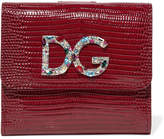 Dolce & Gabbana Embellished Lizard-effect Patent-leather Wallet - Red