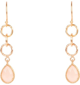 Latelita Linked Gemstone Drop Earring Rose Gold Rose Quartz