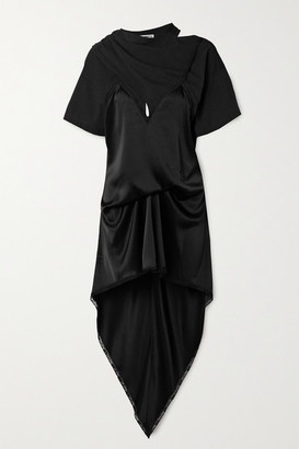 Alexander Wang Asymmetric Lace-trimmed Satin And Cotton-jersey Dress - Black
