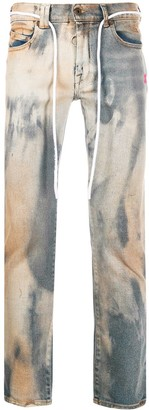 Off-White Off White bleached effect distressed skinny jeans