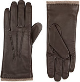 Barneys New York WOMEN'S LEATHER TOUCHSCREEN-COMPATIBLE GLOVES-BROWN SIZE 6.5