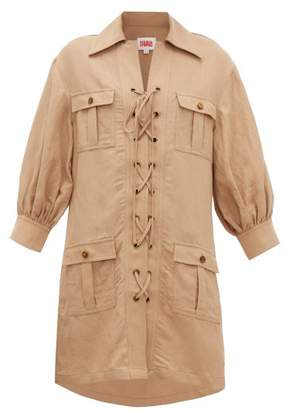 Solid & Striped Safari Lace Up Linen Blend Dress - Womens - Light Brown