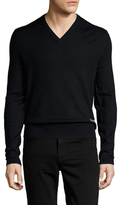 Gucci Wool Solid V-Neck Sweater