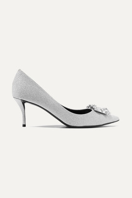 Roger Vivier Flower Crystal-embellished Glittered Leather Pumps - Silver