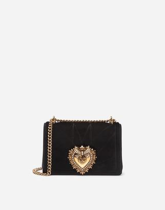 Dolce & Gabbana Medium Devotion Crossbody Bag In Quilted Velvet