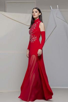 Isabel Sanchis Alberona Cold Shoulder Gown