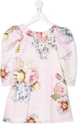 MonnaLisa Floral Print Puff Shoulder Dress