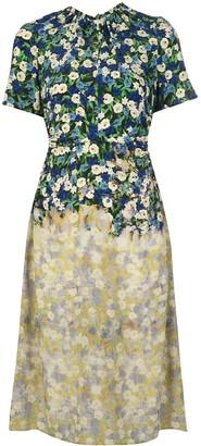 Rokh Floral-Print Silk Dress