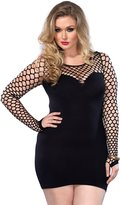 Leg Avenue Women's Plus Size Seamless Mini Dress with Diamond Net Bodice and Sleeves