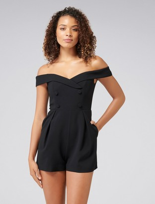 Forever New Catalina Double-Breasted Playsuit - Black - 16
