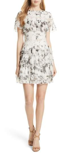 Alice + Olivia Paola Embroidery Accent Ruffle Dress