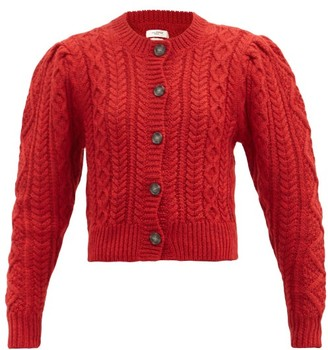 Etoile Isabel Marant Rianne Cropped Cable-knit Wool Cardigan - Red