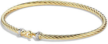 David Yurman Cable Collectibles Buckle Bracelet with Diamonds in Gold