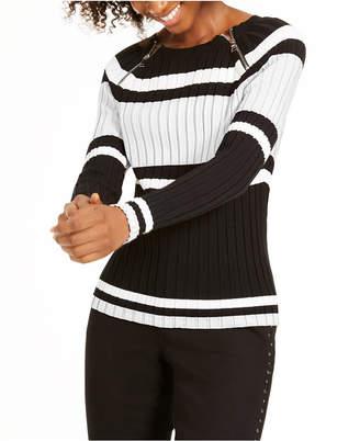 INC International Concepts Inc Striped Zipper Sweater